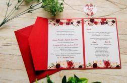 Zaproszenia ślubne w folderze bordowe