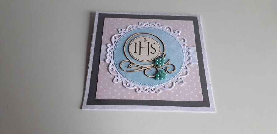 Kartka Komunia Święta różowa IHS