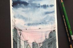 Obraz akwarela miasto downtown zachód art