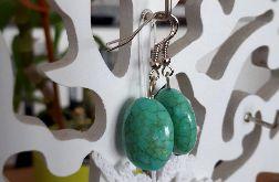 Kolczyki handmade turkusowe z żyłkami