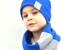 Komplet czapka i komin niebiesko - szary