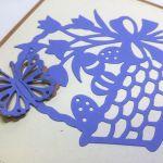 Kartka wielkanocna - niebieski koszyczek nr 3 - motylek 3D