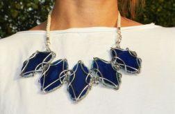 Kolia z agatów niebieska