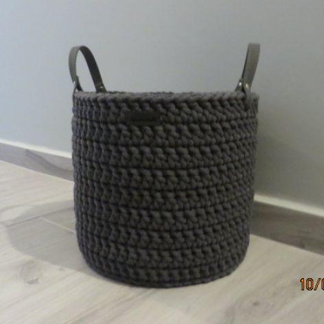 Koszyk ze sznurka z uchwytami grafitowy