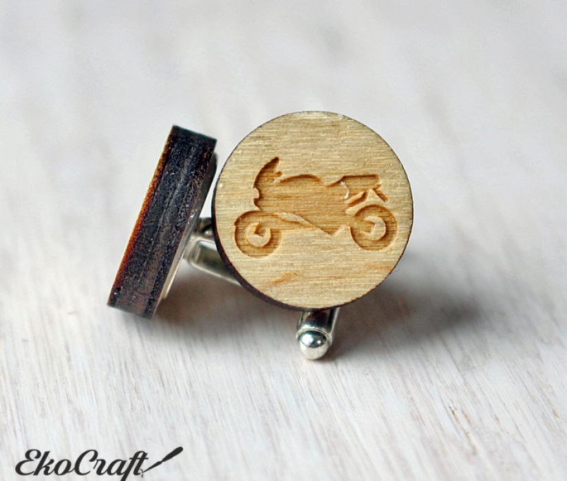 Drewniane spinki do mankietów MOTOCYKL