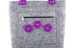 Purple flowers in pocket