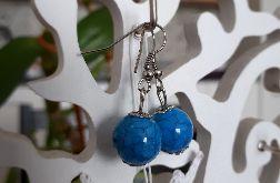 Kolczyki handmade kuleczki niebieskie z żyłkami