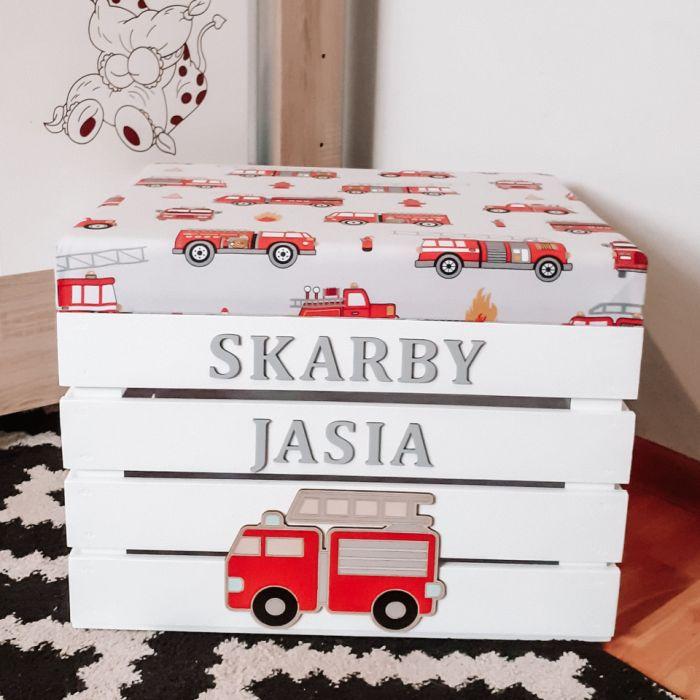 Skrzynia z seidziskie na zabawki STRAŻ II - Strażackie pudełko, pojemnik skrzynka na zabawki loo loo dream