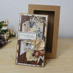 Boho jesień - kartka w pudełku