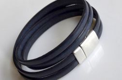 Bransoletka leather navy blue