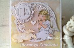 Kartka na komunię dziewczynki z aniołkiem