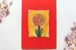 Kartka uniwersalna czerwona z kwiatkiem  2