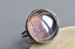 Fioletowa zorza - pierścionek ze szkłem
