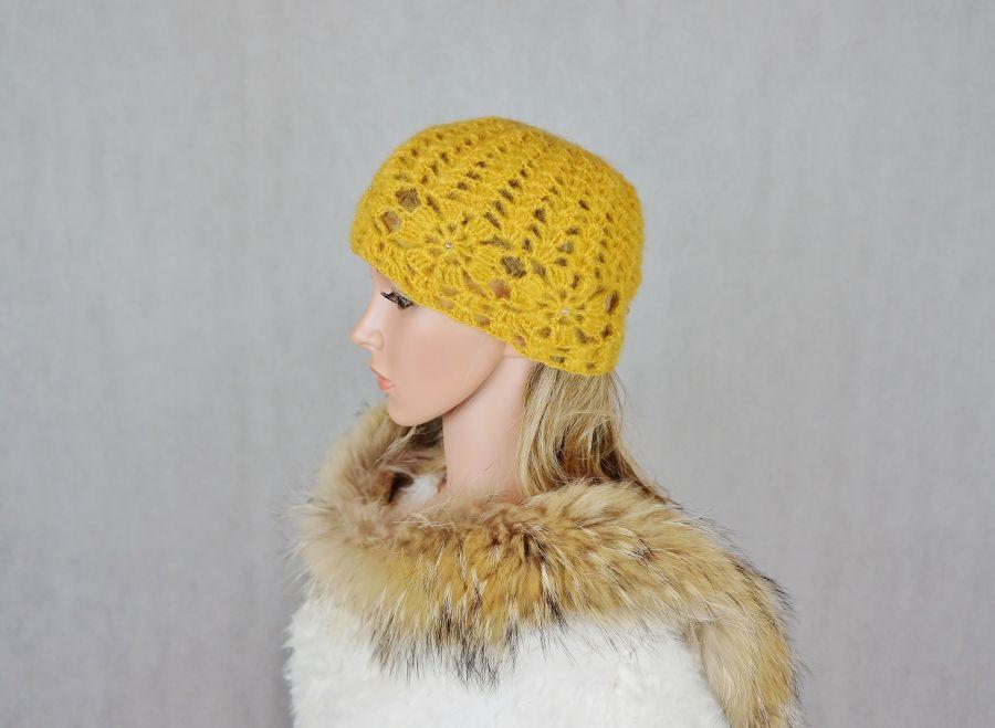 Miodowa szydełkowa czapka - Miodowa czapka