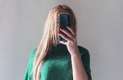 Klasyczne gładkie ponczo zieleń trawiasta