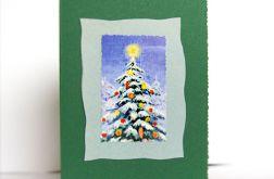 Kartka świąteczna zielona z choinką 1