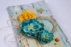 Kartka ślubna - turkusowe kwiaty