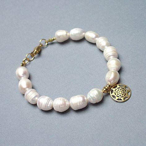 Pearls /white/ perły naturalne vol. 3-bransoletka