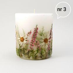 Świeca z naturalnymi kwiatami-rumian i wrzos