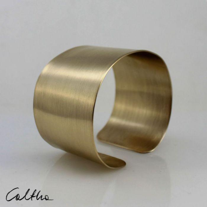 Satyna - mosiężna bransoleta 140319-03 - Bransoletka w kolorze złota