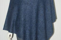Klasyczne gładkie ponczo jeans-melanż