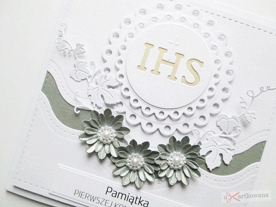 Kartka PAMIĄTKA I KOMUNII z Hostią #13 - Biało-szara kartka na Komunię z Hostią