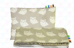Kocyk MINKY + poduszka sówki szare