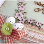 Kartka wielkanocna z jajeczkami i gałązkami