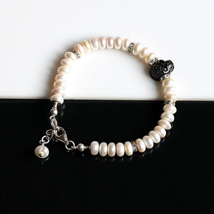 Czaszka w perłach - bransoletka - srebrna bransoletka