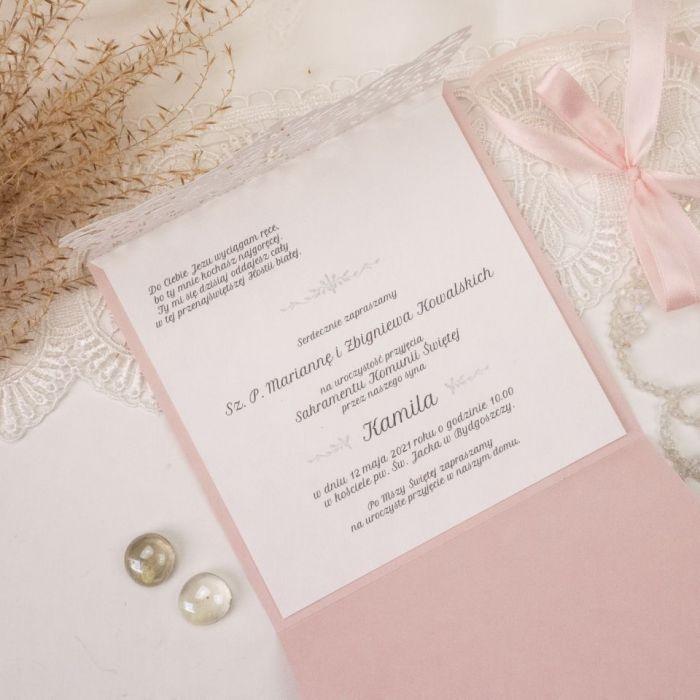 Zaproszenia na komunię, chrzest - wzór 2 - eleganckie zaproszenia, zaproszenia glamour, laserowe zaproszenia