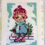 Kartka bożonarodzeniowa - Chłopiec z choinką  - Wzór widok