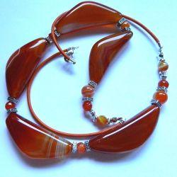 Karneol pomarańczowy, elegancki naszyjnik