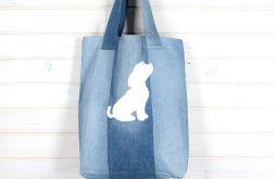 Ekologiczna torba dżinsowa z psem