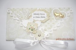 Kopertówka, kartka na ślub dla Młodej Pary beżowe