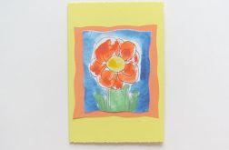 Kartka żólta z kwiatkiem nr 19