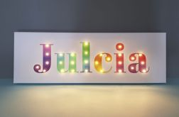 Tęczowy obraz LED z imieniem, 20x60cm