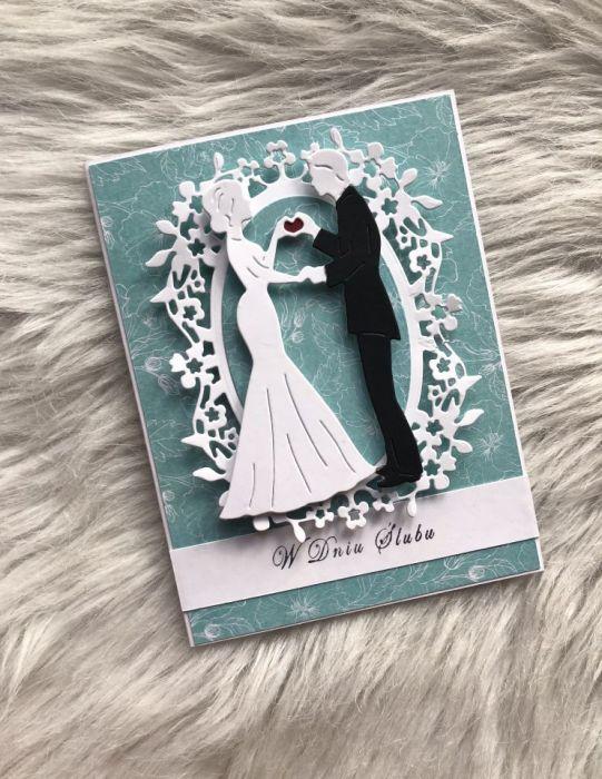 Kartka na ślub turkusowa 03