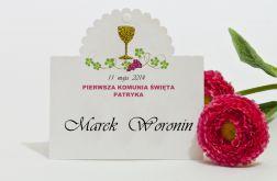 Winietki na Komunię Świętą z kielichem hostią i winoroślą