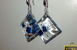 Szafir - kwadratowe kolczyki z żywicy i srebra
