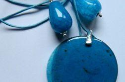 Niebieskie agaty i srebro. Wisior i kolczyki
