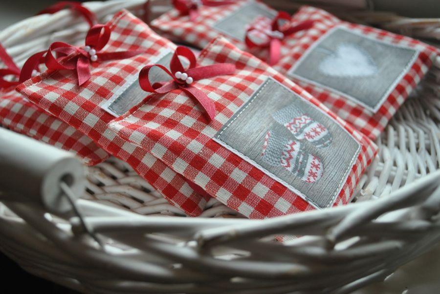 4 rustykalne saszetki z lawendą - Boże Narodzenie