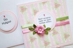 Kartka Z ŻYCZENIEM różowo-seledynowa