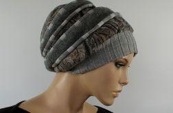 zimowa czapka SZARO-BEŻOWA