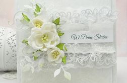 Kartka ślubna  z koronkami