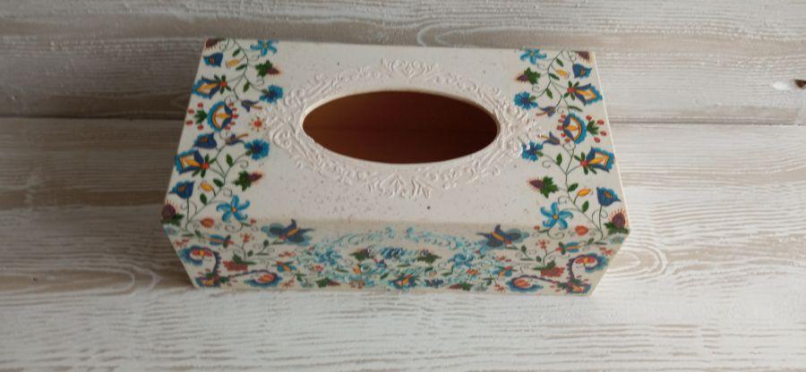 Pudełko na chusteczki z motywem kaszubskim - Chustecznik z napisem - Home sweet Home