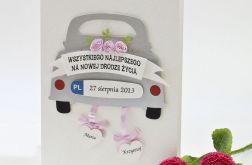 Kartka ślubna z samochodem garbus