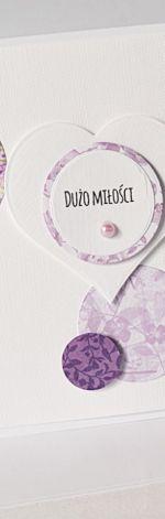 DUŻO MIŁOŚCI - kartka ślubna z fioletem