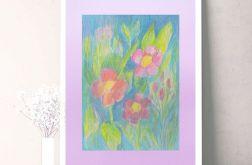 Rysunek kwiaty na fioletowym tle nr 21 szkic