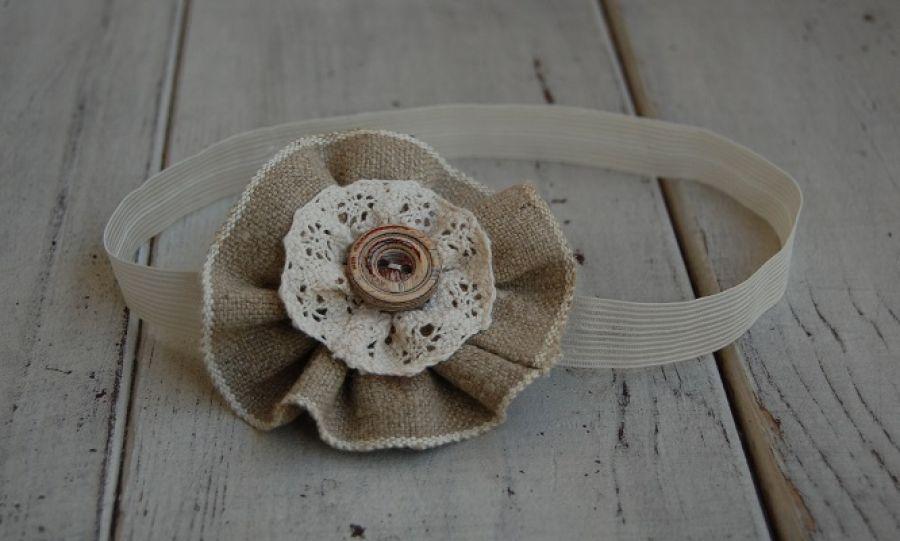 Opaska niemowlęca - Lniany kwiat