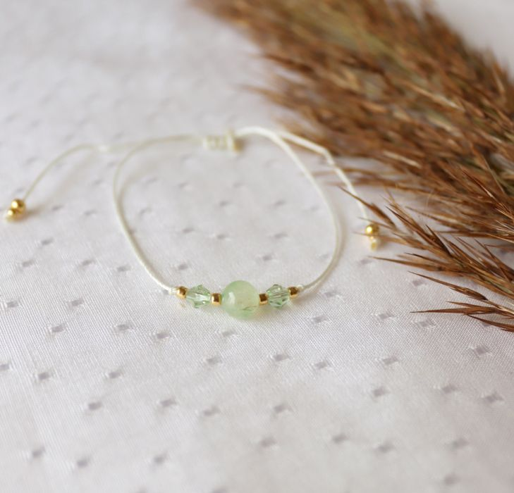 Bransoletka sznurkowa z kamieniem jadeitem - Bransoletka z kamieniem na rzemyku
